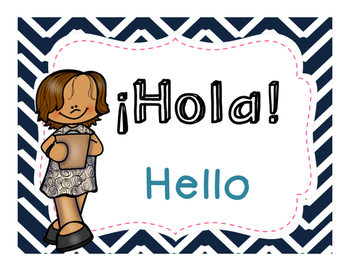 Spanish Greetings Posters - Chevron