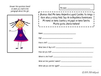 Spanish Greetings Practice - Describing Alejandra y Alejandro