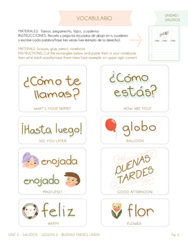 Spanish Greetings - Unit 1 Lesson 2 (Basic Level Spanish) with Flash Cards