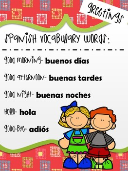 Spanish greetings vocabulary by a plus curriculum tpt spanish greetings vocabulary m4hsunfo