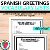 Spanish Greetings Worksheet - Vocabulary Lists