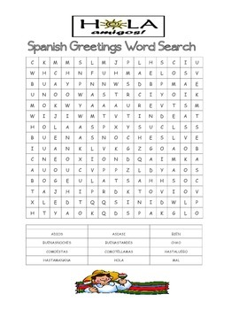 Spanish Greetings Word Search