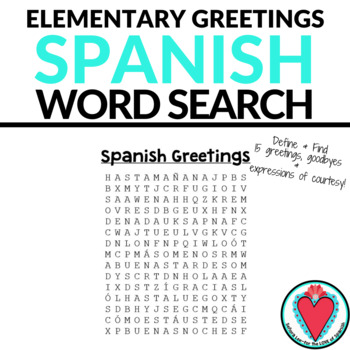 Spanish greetings word search elementary spanish tpt spanish greetings word search elementary spanish m4hsunfo
