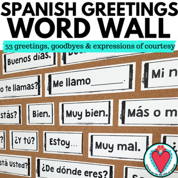Spanish greetings word wall pared de palabras tpt spanish greetings word wall pared de palabras m4hsunfo
