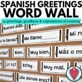 Spanish Greetings Vocabulary - Spanish Word Wall - Bulletin Board