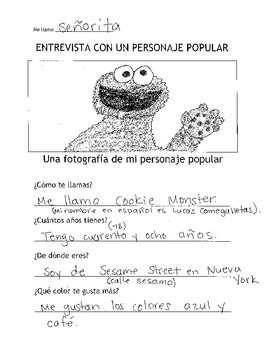 Los saludos - Spanish Greetings Worksheet/Assignment - Character Interview