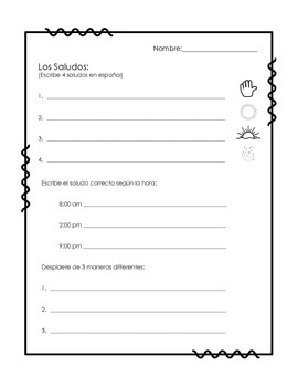 Spanish Greetings Worksheets