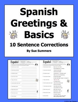 Spanish Greetings and Basics 10 Sentence Corrections and Translations