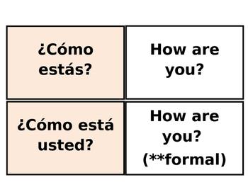 Printable Flashcards: Spanish Greetings / Farewells (Avancemos 1 Lección prelim)