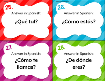 Spanish Greetings and Farewells Task Cards