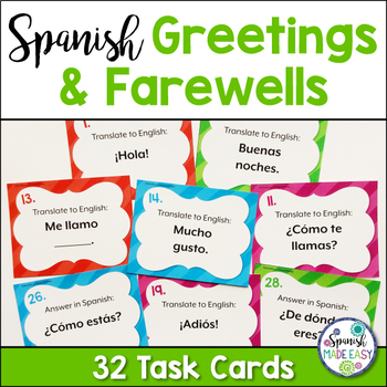 Spanish greetings and farewells task cards by spanish made easy tpt spanish greetings and farewells task cards m4hsunfo