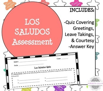 Spanish Greetings and Introductions Assessment (Quiz)