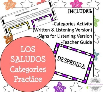 Spanish Greetings and Introductions Categories Activity