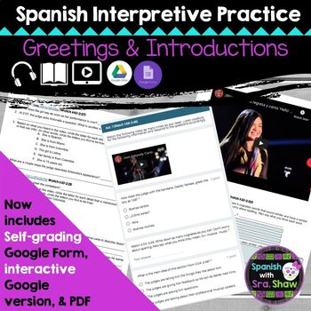 Spanish Greetings and Introductions Interpretive Listening Practice Activity