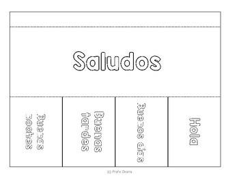 Spanish Greetings & goodbyes - Saludos y despedidas INTERACTIVE NOTEBOOK