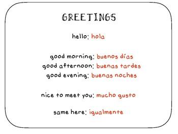 Spanish Greetings (los saludos)