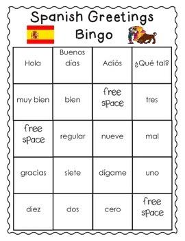 Spanish Greetings (& numbers too!) Bingo
