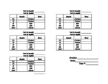 Spanish Grid for Verb Conjugation