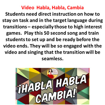 065 Spanish Group Speaking Activity Habla Habla Cambia Transition Video