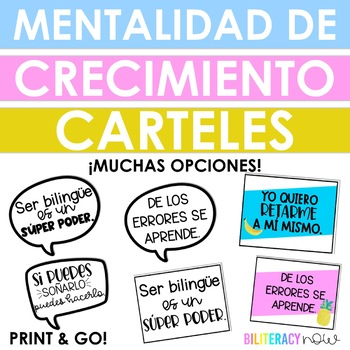 Spanish Growth Mindset Positive Quote Posters! 12 Quotes - 4 options!