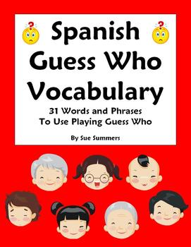 Spanish Guess Who Game Advina Quien Vocabulary Reference 31 Words