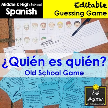 Spanish Task Cards - Guess Who - Adjectives + Ser Game