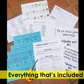 Spanish Task Cards - Guess Who Game - Physical Descriptions Adjectives + Ser