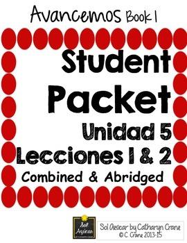 Avancemos 1 Unit 5 Student Handouts & Notes - La Casa, Los Quehaceres (House)