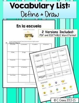 Avancemos 1 Unit 2 Lesson 2 Student Handouts & Notes (La escuela, School)