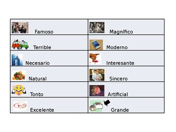 Spanish Guided Notes on Cognate Adjectives