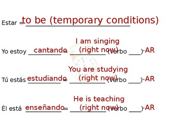 Spanish- Guided Notes on Present Progressive