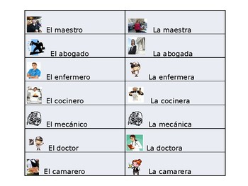 Spanish Guided Notes on Profession Vocabulary and SER Conjugation