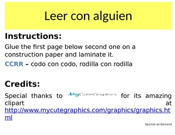 Spanish Guided Reading Anchor Chart - Leer con alguien