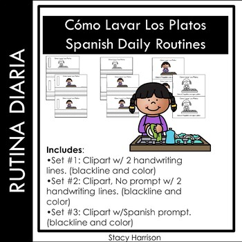 Spanish Daily Routine, Como Lavar Los Platos (How to Wash Dishes) Booklets