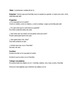 Spanish Guided Reading Plan Level G - Fiction