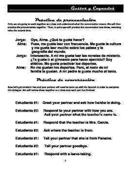 Spanish Gustar, Greetings, Ser, Cognates: Conversational A