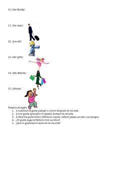 Spanish Gustar + Infinitives Sentences Worksheet