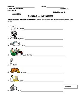 Spanish Gustar + Infinitives Worksheet
