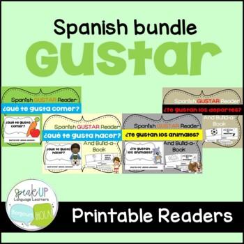 Spanish Gustar Readers & Build-a-Books {Bundled set of 4}