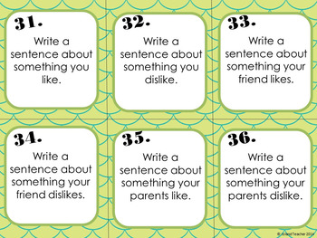Spanish Gustar Task Cards Writing or Speaking Activity