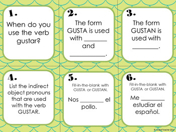 Spanish Task Cards Gustar Writing or Speaking Activity