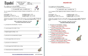 Spanish Gustar Verbs Indirect Object Pronouns With Sports Worksheet