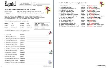 spanish gustar verbs and indirect object pronouns worksheet by sue summers. Black Bedroom Furniture Sets. Home Design Ideas