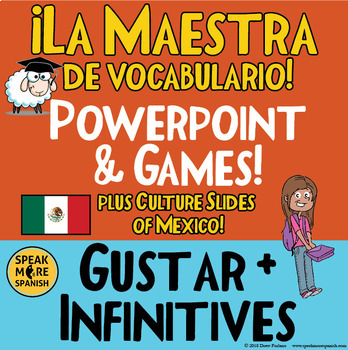 Spanish Gustar, Vocabulary, and Mexico Powerpoint. Juegos de Vocabulario!
