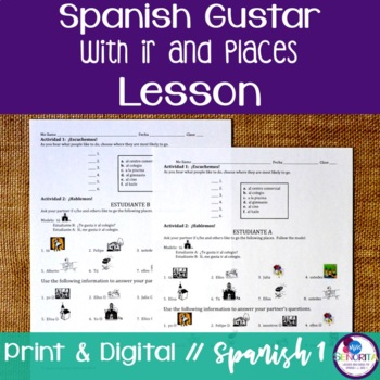Spanish Gustar with Ir and Places Lesson