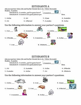Spanish Gustar with Verbs Speaking Activity