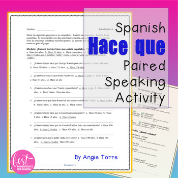 Spanish Hace Que Expressions Paired Speaking Activity