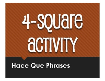 Spanish Hace Que Four Square Activity