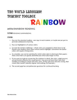 Spanish Hace Que Rainbow Reading
