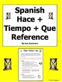 Spanish Hacer + Time / Cuanto Tiempo Hace Student Reference